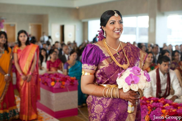 Indian wedding bride walks down aisle in Exquisite Indian Wedding by Jason Groupp Photography, Jersey City, New Jersey