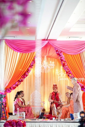Indian wedding ceremony mandap colorful in Exquisite Indian Wedding by Jason Groupp Photography, Jersey City, New Jersey