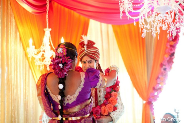 red,orange,hot pink,yellow,Floral & Decor,ceremony,mandap,indian wedding ceremony,traditional customs and rituals,traditional ceremony,traditional wedding ceremony,floral jai malas,fabric draped mandap,colorful and bright wedding mandap,Jason Groupp Photography