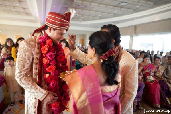 Indian wedding ceremony traditional bride groom in Exquisite Indian Wedding by Jason Groupp Photography, Jersey City, New Jersey