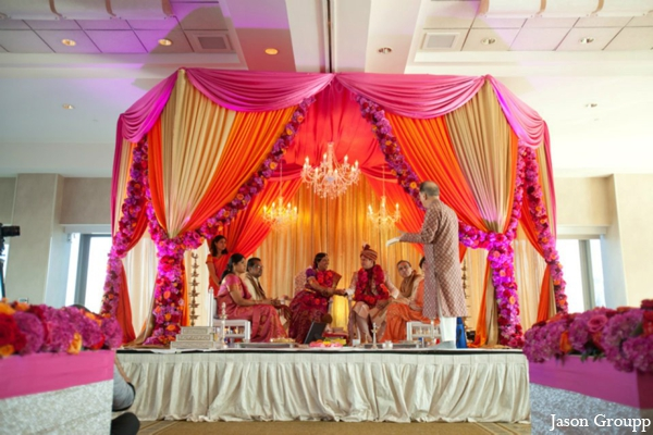 Indian wedding ceremony traditional mandap in Exquisite Indian Wedding by Jason Groupp Photography, Jersey City, New Jersey