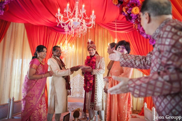 Indian wedding ceremony venue colorful inspiration in Exquisite Indian Wedding by Jason Groupp Photography, Jersey City, New Jersey