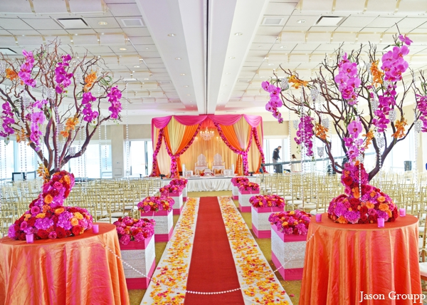 orange,hot pink,baby pink,Floral & Decor,Planning & Design,ceremony,mandap,indian wedding decor,ceremony decor,indian wedding inspiration,inspiration for design at ceremony,fabric draped mandaps,colorful mandap,bright colorful color palette,Jason Groupp Photography