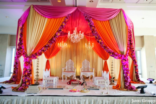 Indian wedding ceremony venue mandap colorful in Exquisite Indian Wedding by Jason Groupp Photography, Jersey City, New Jersey