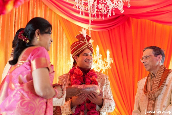 Indian wedding colorful mandap ideas in Exquisite Indian Wedding by Jason Groupp Photography, Jersey City, New Jersey
