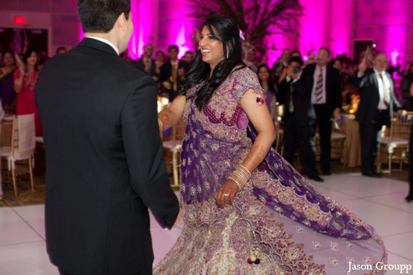Indian wedding dancing reception dance floor in Exquisite Indian Wedding by Jason Groupp Photography, Jersey City, New Jersey