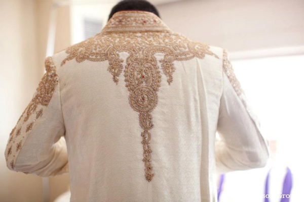Indian wedding groom sherwani traditional embroidery in Exquisite Indian Wedding by Jason Groupp Photography, Jersey City, New Jersey