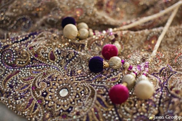 Indian wedding lengha detail embroidery in Exquisite Indian Wedding by Jason Groupp Photography, Jersey City, New Jersey