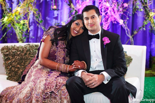 Indian wedding lengha reception bride groom in Exquisite Indian Wedding by Jason Groupp Photography, Jersey City, New Jersey