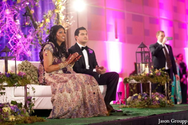 Indian wedding reception bride groom decor in Exquisite Indian Wedding by Jason Groupp Photography, Jersey City, New Jersey