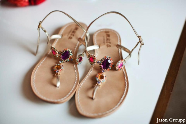 Indian wedding reception sandals jewels in Exquisite Indian Wedding by Jason Groupp Photography, Jersey City, New Jersey