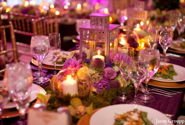 Indian wedding reception table setting decor in Exquisite Indian Wedding by Jason Groupp Photography, Jersey City, New Jersey