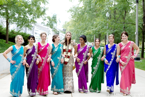 Indian wedding bridal party in Chicago, Illinois Indian Fusion Wedding by Jen Lynne Photography