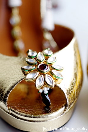 Indian wedding bridal shoes accessories in Chicago, Illinois Indian Fusion Wedding by Jen Lynne Photography
