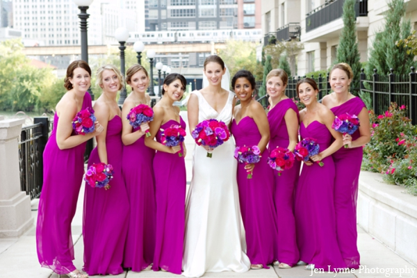 Indian wedding ceremony bridal party in Chicago, Illinois Indian Fusion Wedding by Jen Lynne Photography