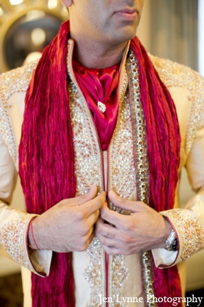 Indian wedding groom sherwani outfit in Chicago, Illinois Indian Fusion Wedding by Jen Lynne Photography