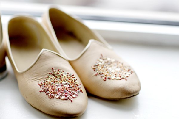 Indian wedding grooms shoes in Chicago, Illinois Indian Fusion Wedding by Jen Lynne Photography