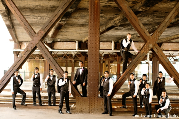Indian wedding groomsmen photo in Chicago, Illinois Indian Fusion Wedding by Jen Lynne Photography