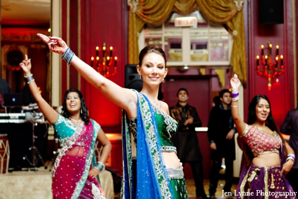 Indian wedding reception dance in Chicago, Illinois Indian Fusion Wedding by Jen Lynne Photography