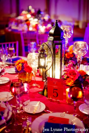 Indian wedding reception decor ideas in Chicago, Illinois Indian Fusion Wedding by Jen Lynne Photography