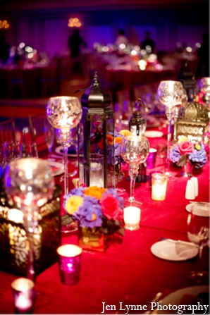 Indian wedding reception decor table in Chicago, Illinois Indian Fusion Wedding by Jen Lynne Photography