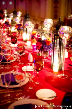 Indian wedding table design in Chicago, Illinois Indian Fusion Wedding by Jen Lynne Photography