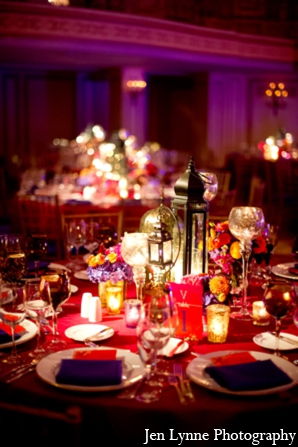Indian wedding tablesetting in Chicago, Illinois Indian Fusion Wedding by Jen Lynne Photography