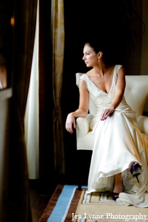 Simple white wedding dress in Chicago, Illinois Indian Fusion Wedding by Jen Lynne Photography