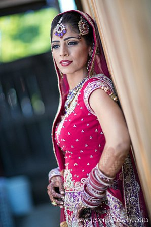 Indian wedding red lengha in Sacramento, CA Indian Wedding by Jeremy Vesely Photography