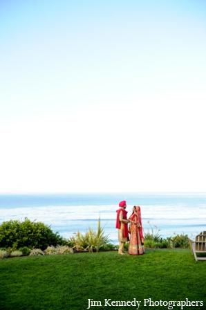 Indian-wedding-bride-groom-portrait-outdoors-beach-ocean