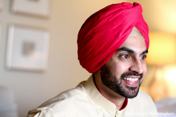 Indian-wedding-groom-before-ceremony-red-turban
