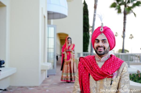 Indian-wedding-portrait-bride-groom-first-look