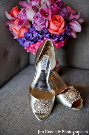 Indian-wedding-shoes-bouquet-colorful-silver