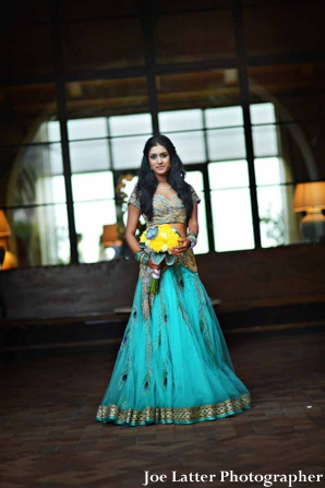 Indian-wedding-bridal-portrait-bouquet-lengha