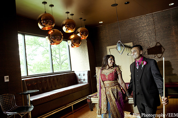 Indian wedding bride groom portraits in New Brunswick, NJ Indian Wedding by Joie Elie Photography