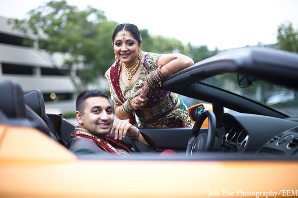 Indian wedding bride groom transportation in New Brunswick, NJ Indian Wedding by Joie Elie Photography
