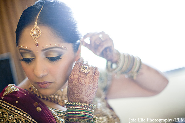 Indian wedding bride makeup jewelry in New Brunswick, NJ Indian Wedding by Joie Elie Photography