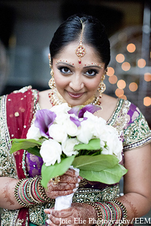 Indian wedding bride photography bouquet in New Brunswick, NJ Indian Wedding by Joie Elie Photography