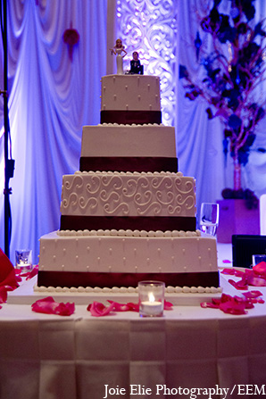 Indian wedding cake reception topper in New Brunswick, NJ Indian Wedding by Joie Elie Photography