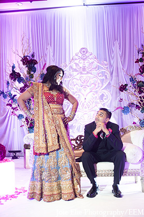Indian wedding reception bride groom portrait in New Brunswick, NJ Indian Wedding by Joie Elie Photography
