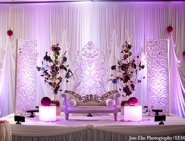 Indian wedding reception decor floral in New Brunswick, NJ Indian Wedding by Joie Elie Photography