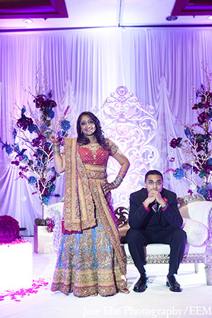 Indian wedding reception groom bride in New Brunswick, NJ Indian Wedding by Joie Elie Photography