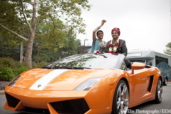 Indian wedding transportation groom baraat in New Brunswick, NJ Indian Wedding by Joie Elie Photography
