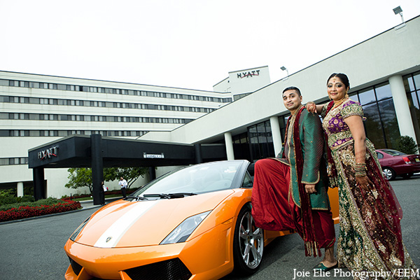 Indian wedding venue bride groom transportation in New Brunswick, NJ Indian Wedding by Joie Elie Photography