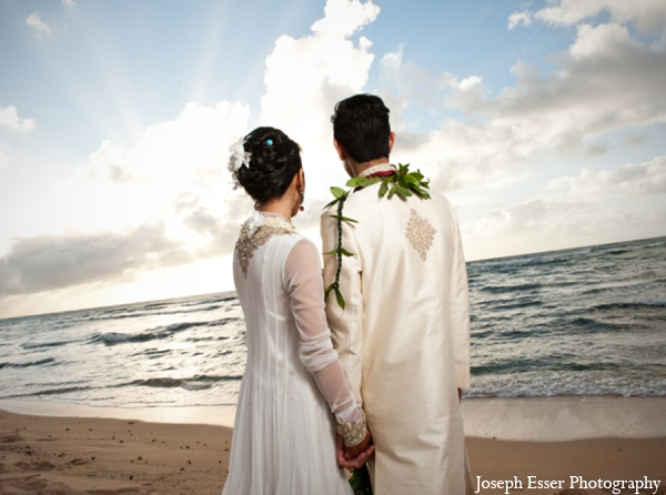 Indian wedding beach destination portrait