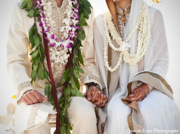 Indian wedding bride groom clothing white