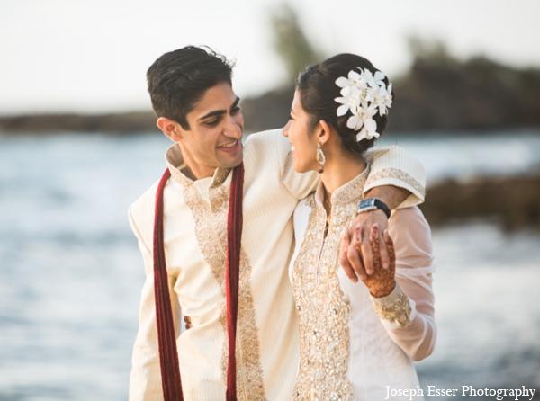 Indian wedding hair outdoor beach portrait destination