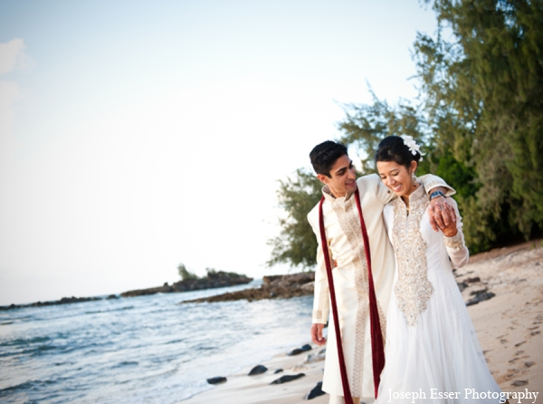 Indian wedding outdoor beach portrait