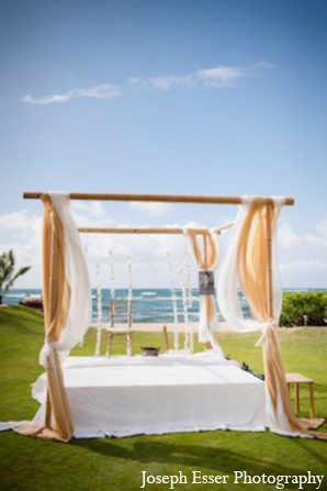 Indian wedding outdoor mandap beach destination