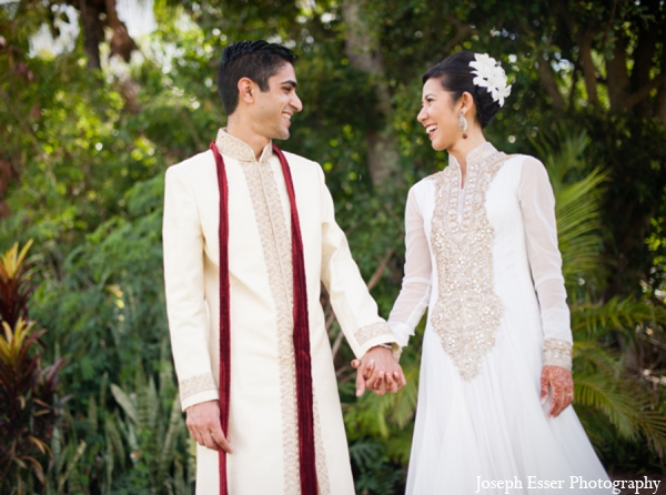 Indian wedding outdoor portrait couple
